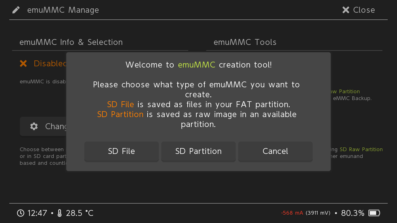 Hekate EmuMMC Creation Tool