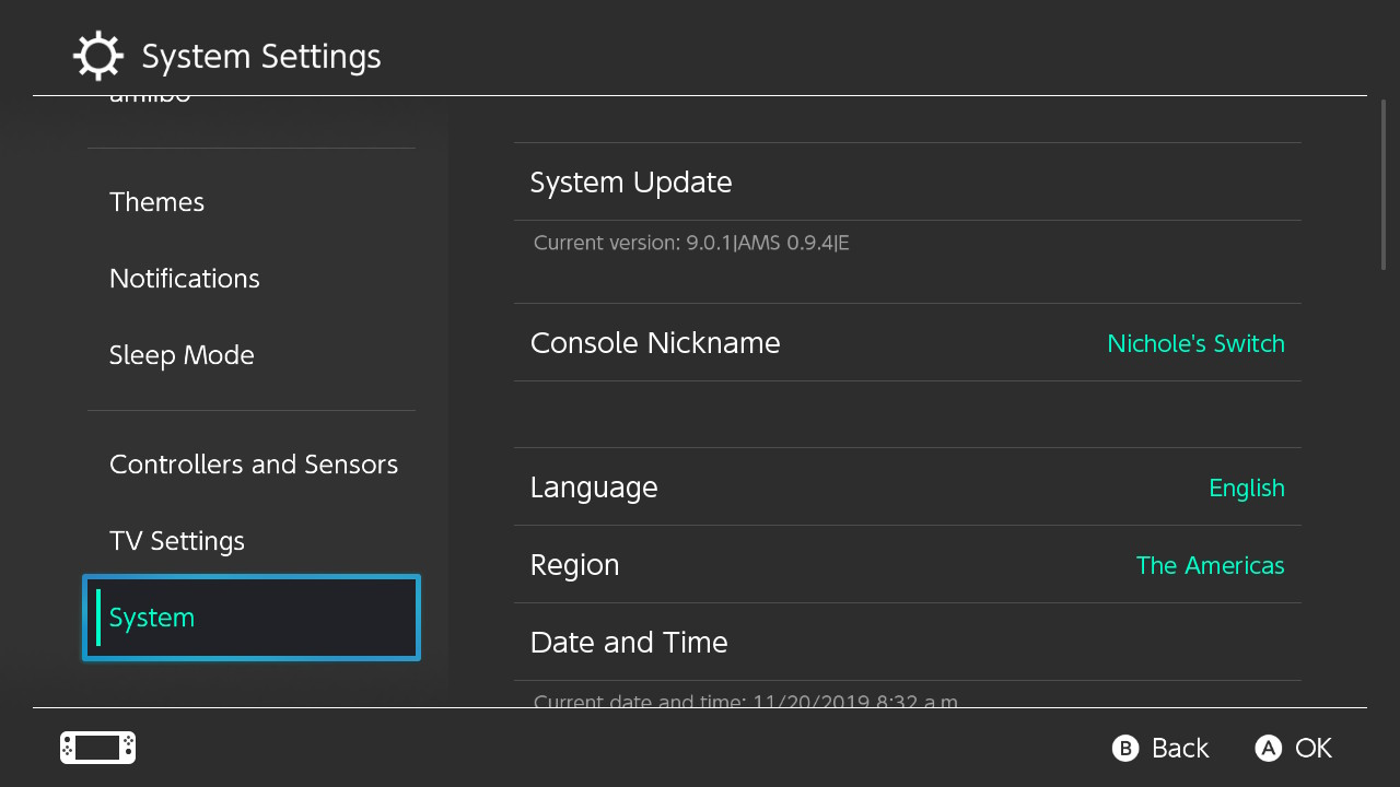 System Settings Screen