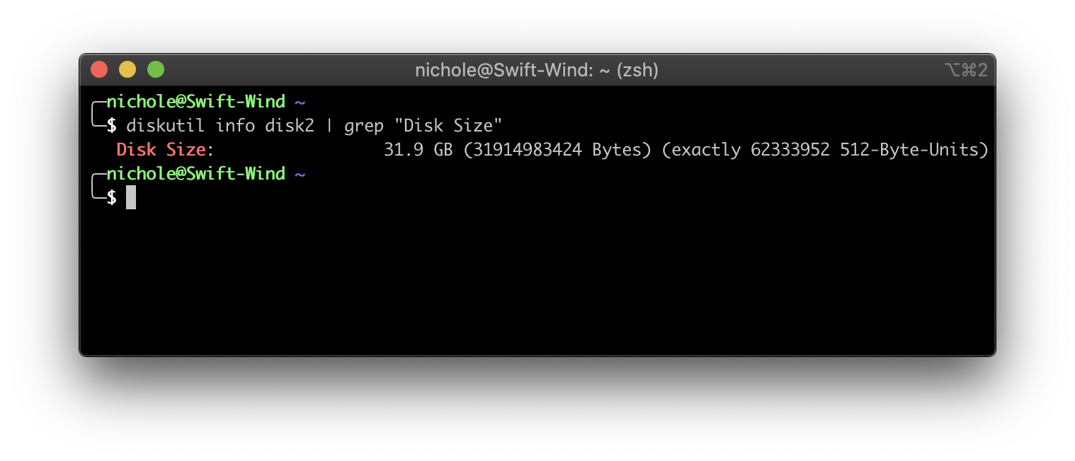 Getting the disk space with diskutil