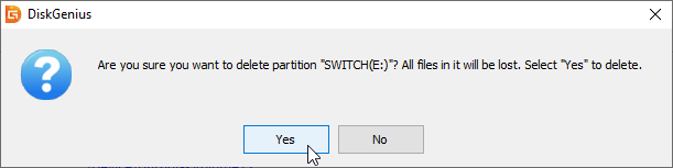 Confirming deletion of partition